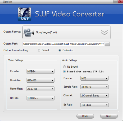 import SWF to Sony Vegas